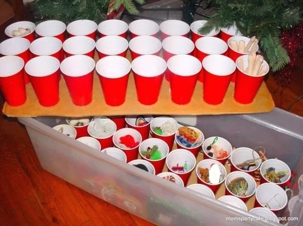 Cups for ornament storage